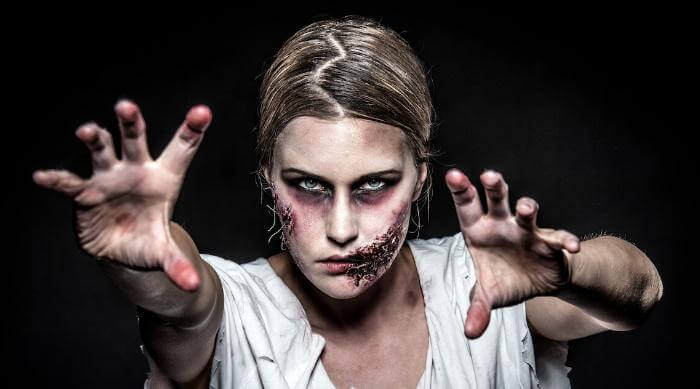 Shutterstock: Zombie woman in makeup