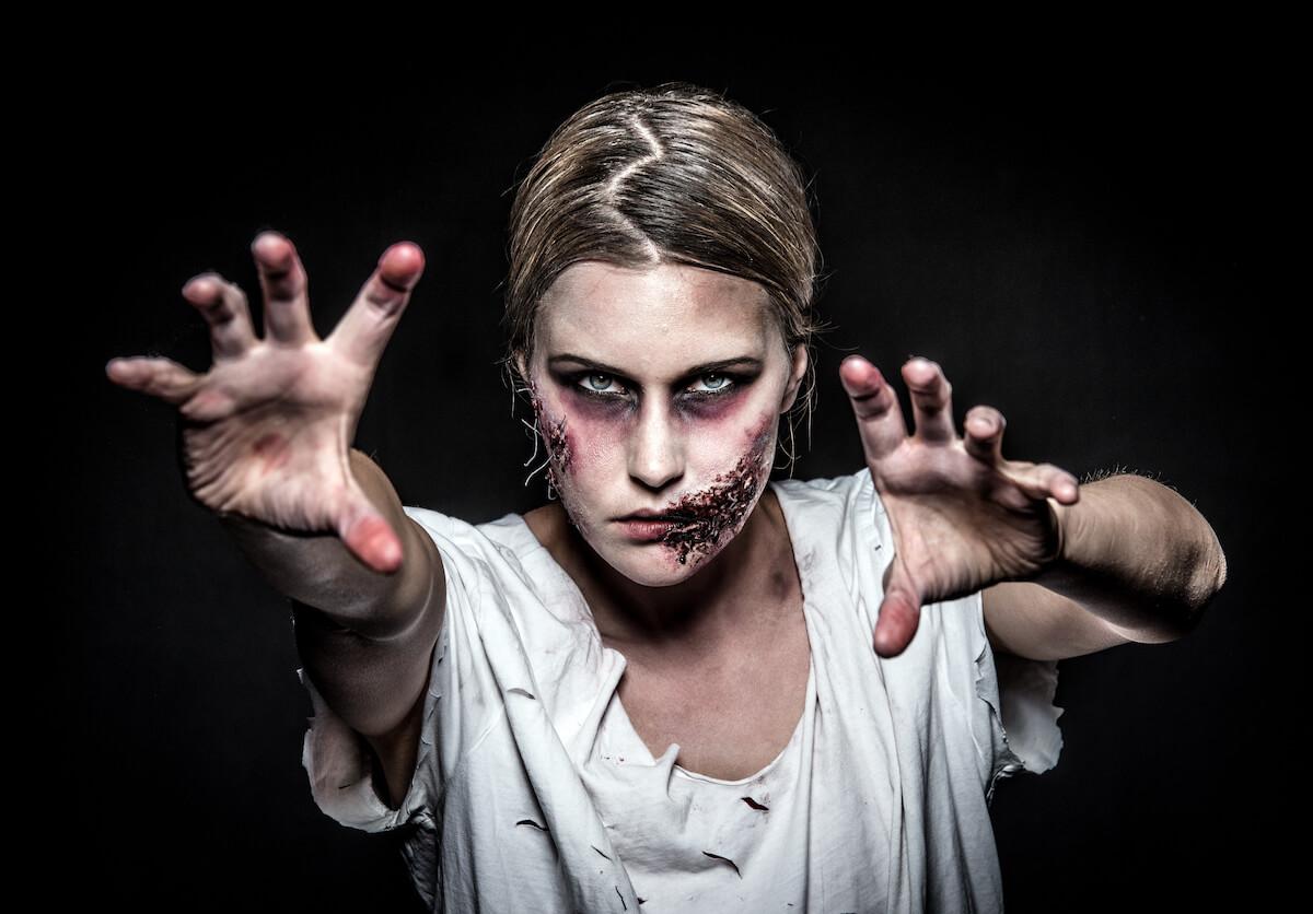 Shutterstock: Zombie woman in makeup