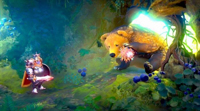 Trine 4: Bear in Blueberry forest with bramble in paw