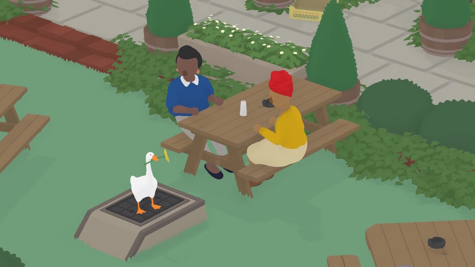 Untitled Goose Game: Goose with flower