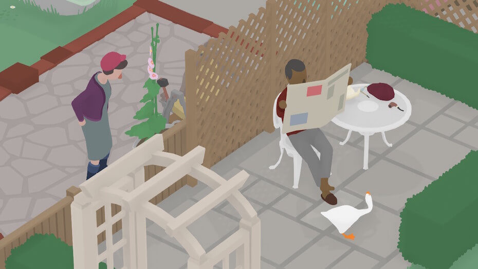 Untitled Goose Game: Reading newspaper