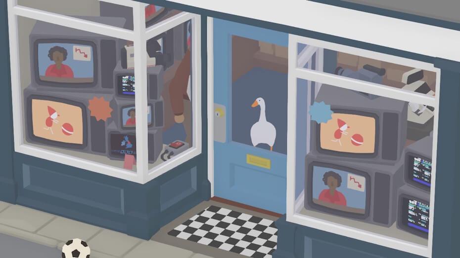 Untitled Goose Game: Goose in TV shop