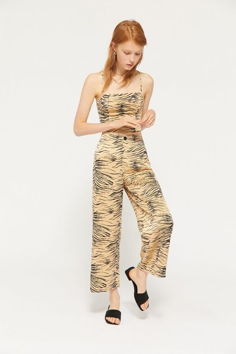 wide leg trouser pants animal print