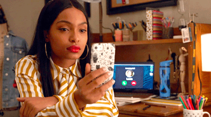 Zoey staring at her phone Grownish