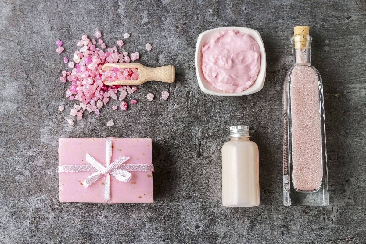 clean beauty products pink aesthetic