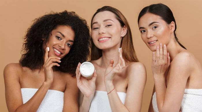 three women clean beauty