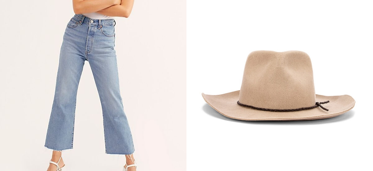 flare jeans and hat