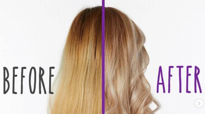 purple shampoo before and after