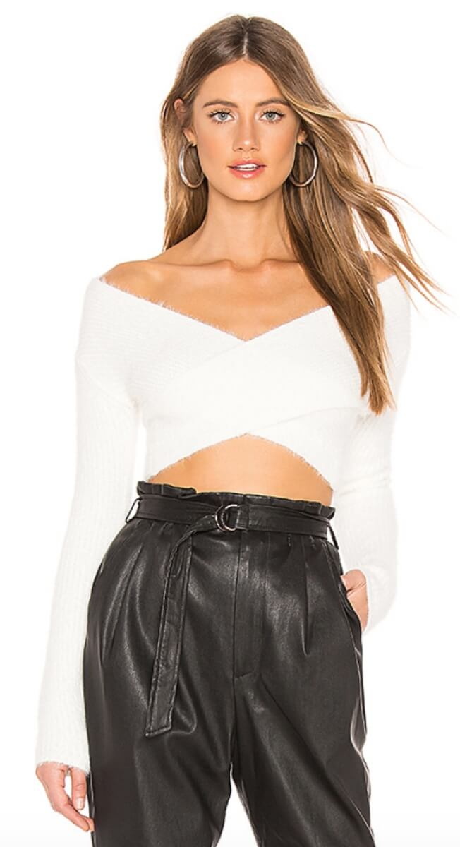 cropped white sweater