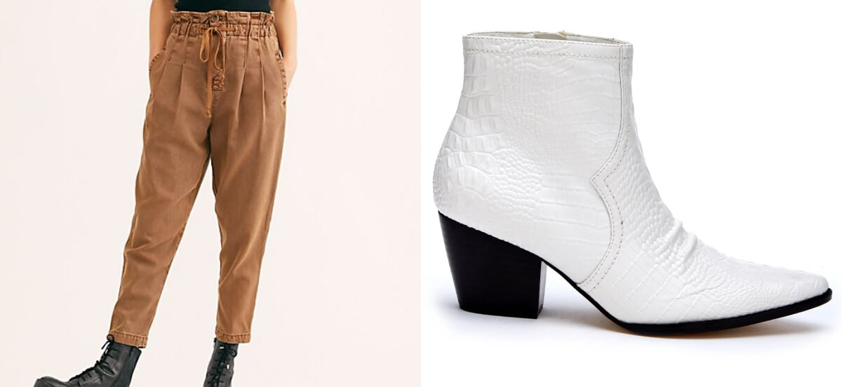 trousers and white boots