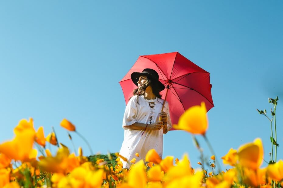 unsplash-jeremy-bishop-woman-umbrella-flowers-against-blue-sky-110419
