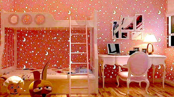 Bunk Beds in a Pink Bedroom