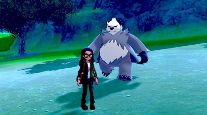 Pokémon Sword and Shield: Pangoro walking up behind trainer