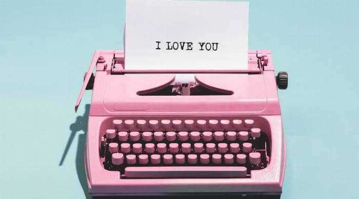 i love you pink typewriter