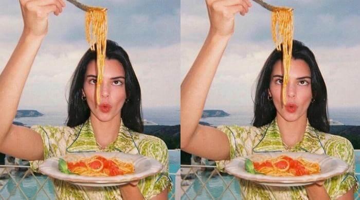 kendall jenner eating pasta spaghetti