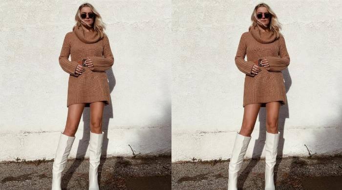 fashion knee high boots sweater dress