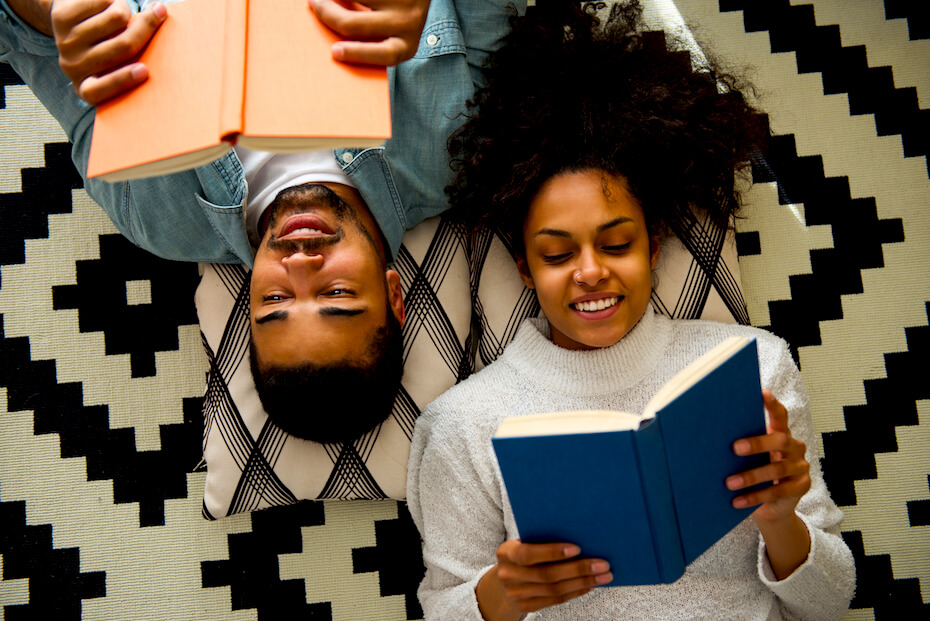Shutterstock: Couple reading books together