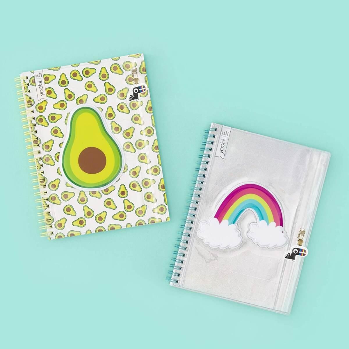 avocado rainbow spiral notebooks