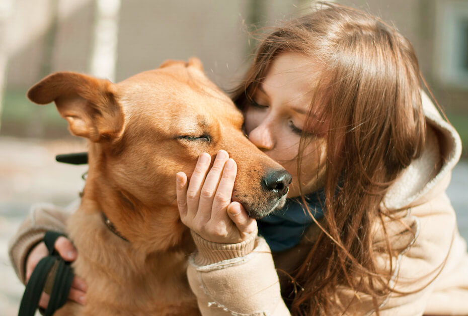 shutterstock-woman-kissing-and-petting-dog-021920