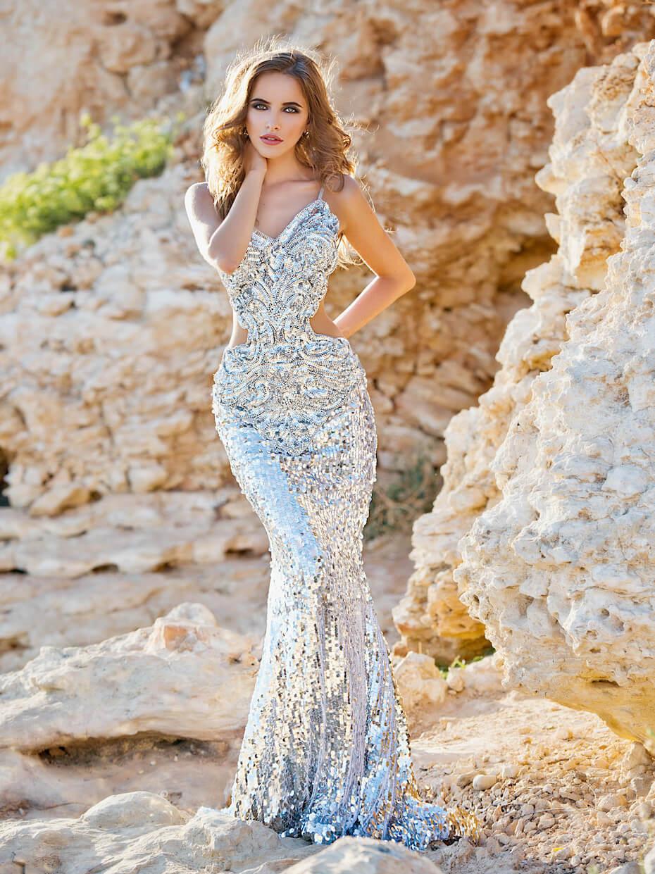 Shutterstock: Woman wearing sequined silver mermaid dress