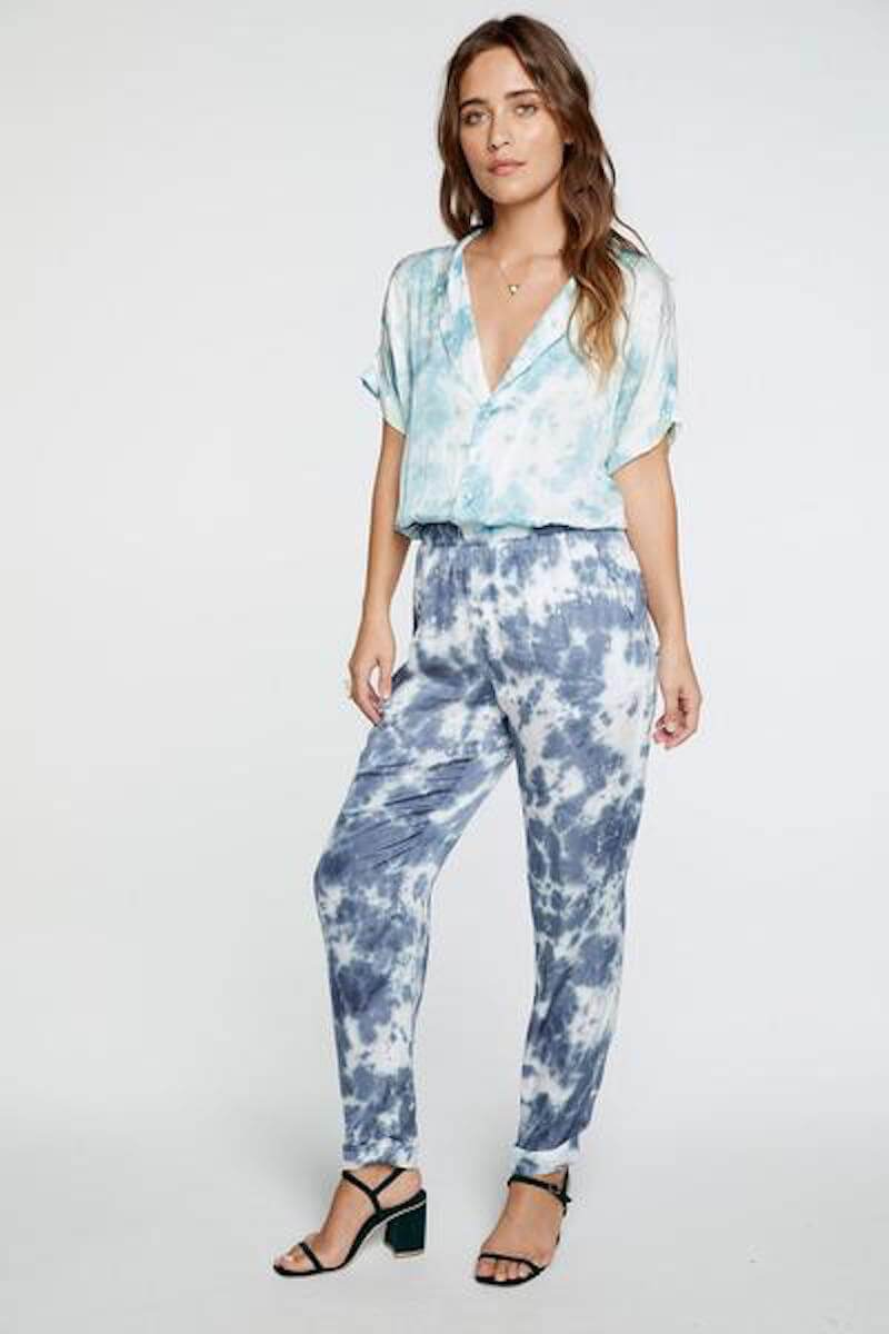 Chaser Silky Basics Short Sleeve Rolled Cuff Jumpsuit