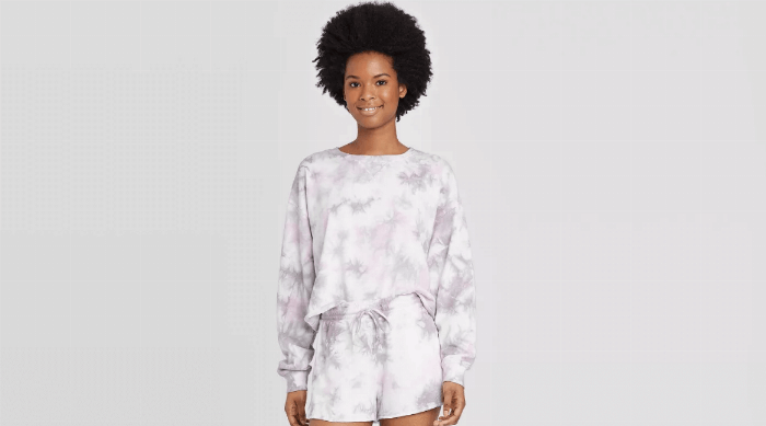 Colsie Tie Dye Cropped Lounge Sweatshirt and Shorts