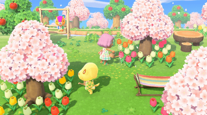 Animal Crossing: New Horizons - Goldie watering flowers and Stitches sitting