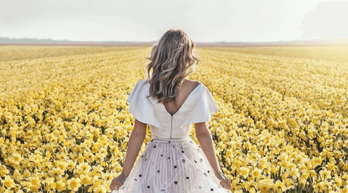 girl flower field