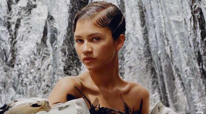 Instagram: Zendaya with super short haircut wearing feather top