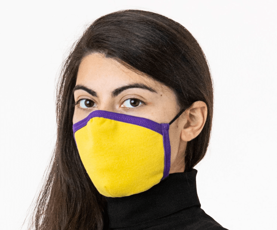 Los Angeles Apparel: Simple face mask in purple and gold