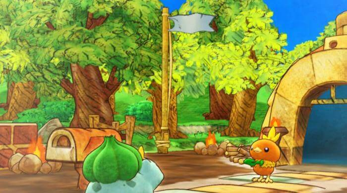 Pokemon Mystery Dungeon: Rescue Team DX Bulbasaur and Torchic looking into sky near Home Base