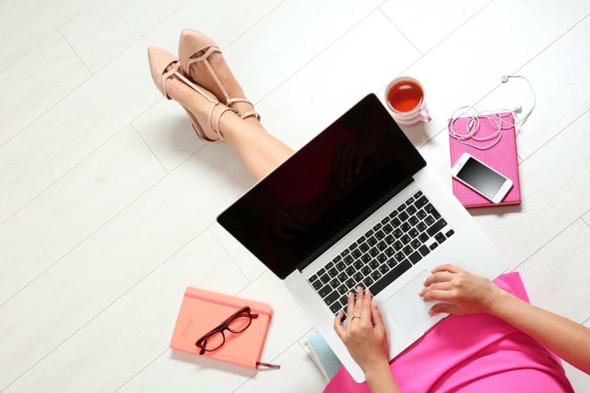 woman working from home laptop