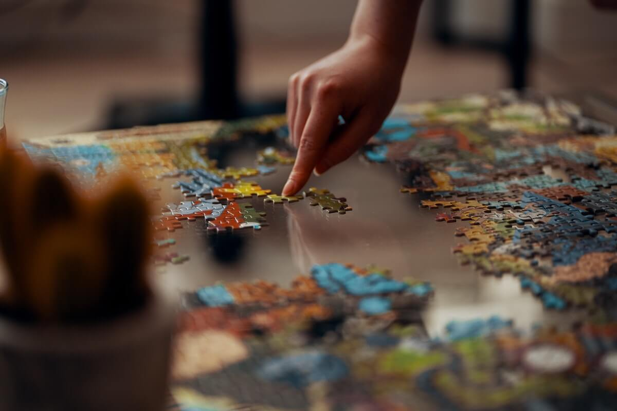 Person Doing a Puzzle