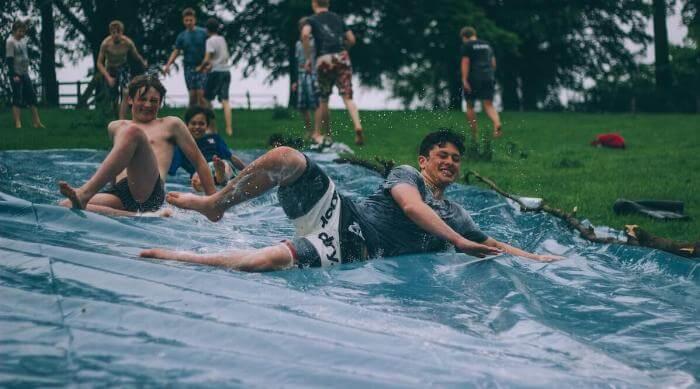 People on a Slip'n Slide
