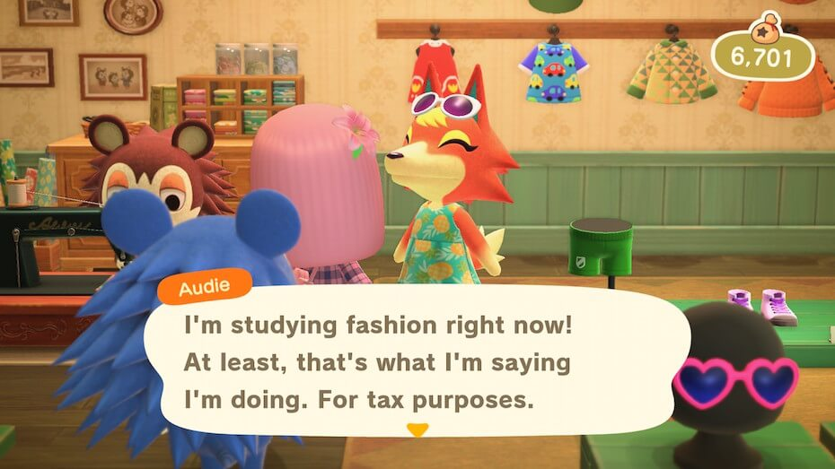 """Animal Crossing: New Horizons - Audie """"I'm studying fashion right now! At least, that's what I'm saying I'm doing. For tax purposes."""""""