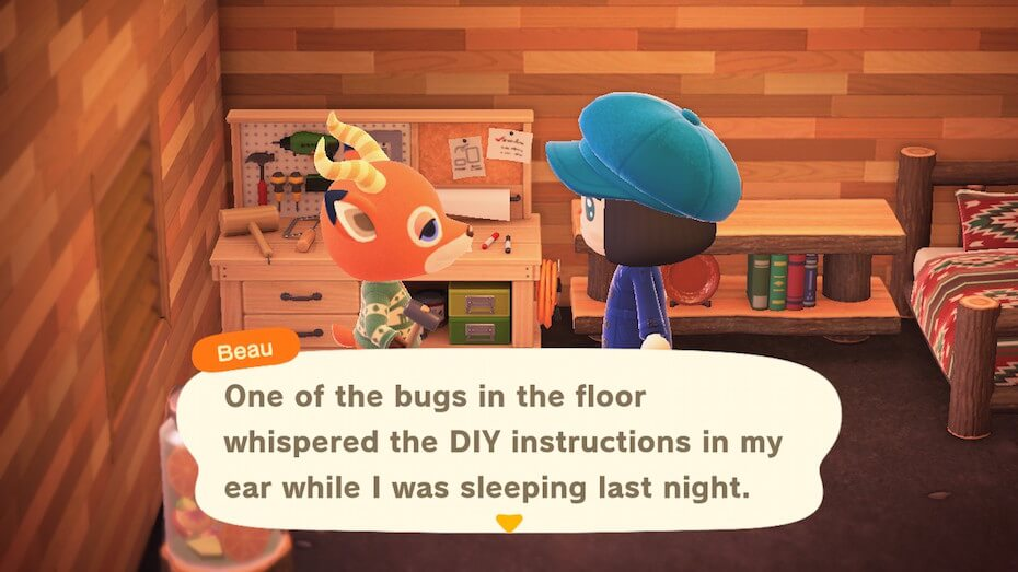 """Animal Crossing: New Horizons - Beau """"One of the bugs in the floor whispered the DIY instructions in my ear while I was sleeping last night."""""""