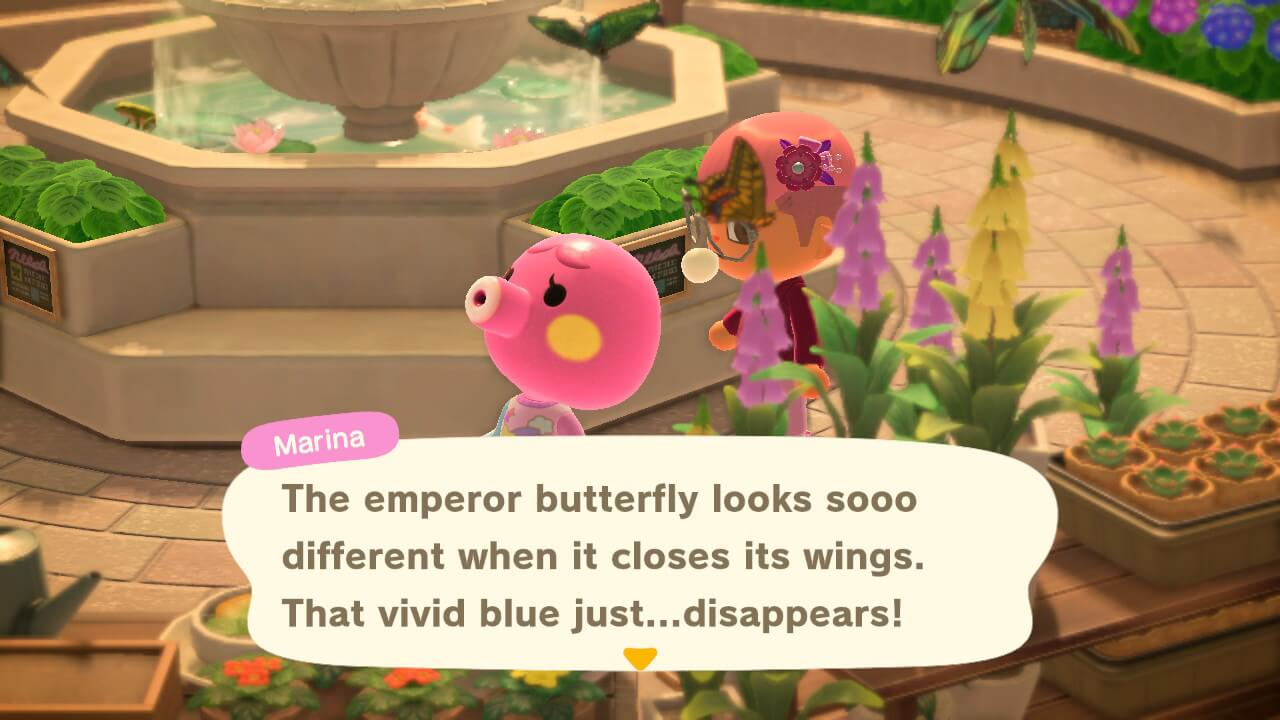 """Animal Crossing: New Horizons - Marina """"The emperor butterfly looks sooo different when it closes its wings. That vivid blue just... disappears!"""""""