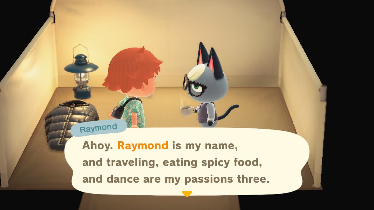 """Animal Crossing: New Horizons - Raymond """"Ahoy. Ramond is my name and traveling, eating spicy foods and dance are my passions three."""""""