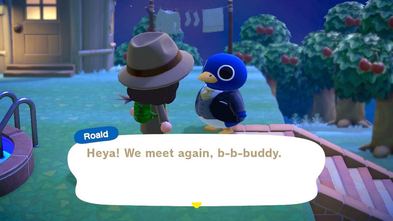 "Animal Crossing: New Horizons - Roald in a tx ""Heya! We meet again, b-b-buddy"""