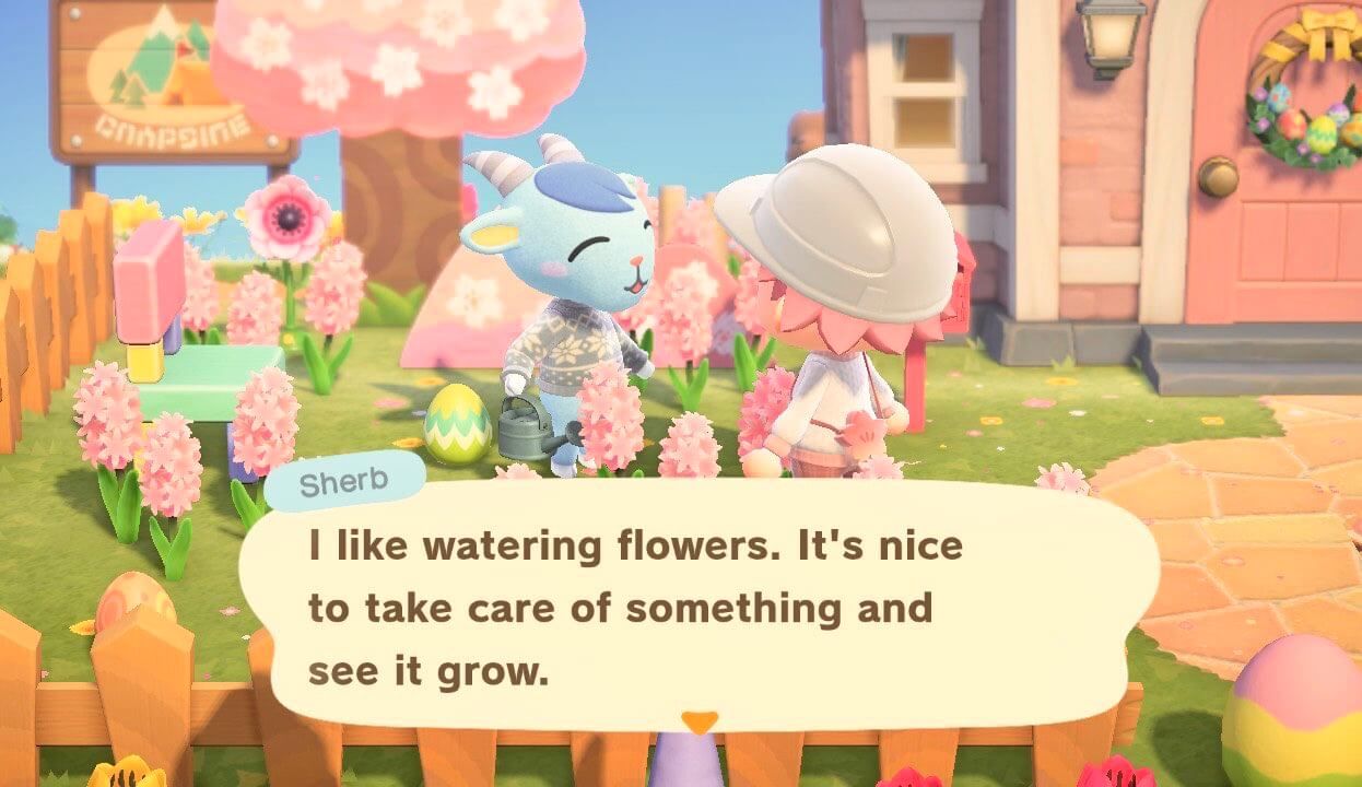 """Animal Crossing: New Horizons - Sherb - """"I like watering flowers. It's nice to take care of something and see it grow."""""""