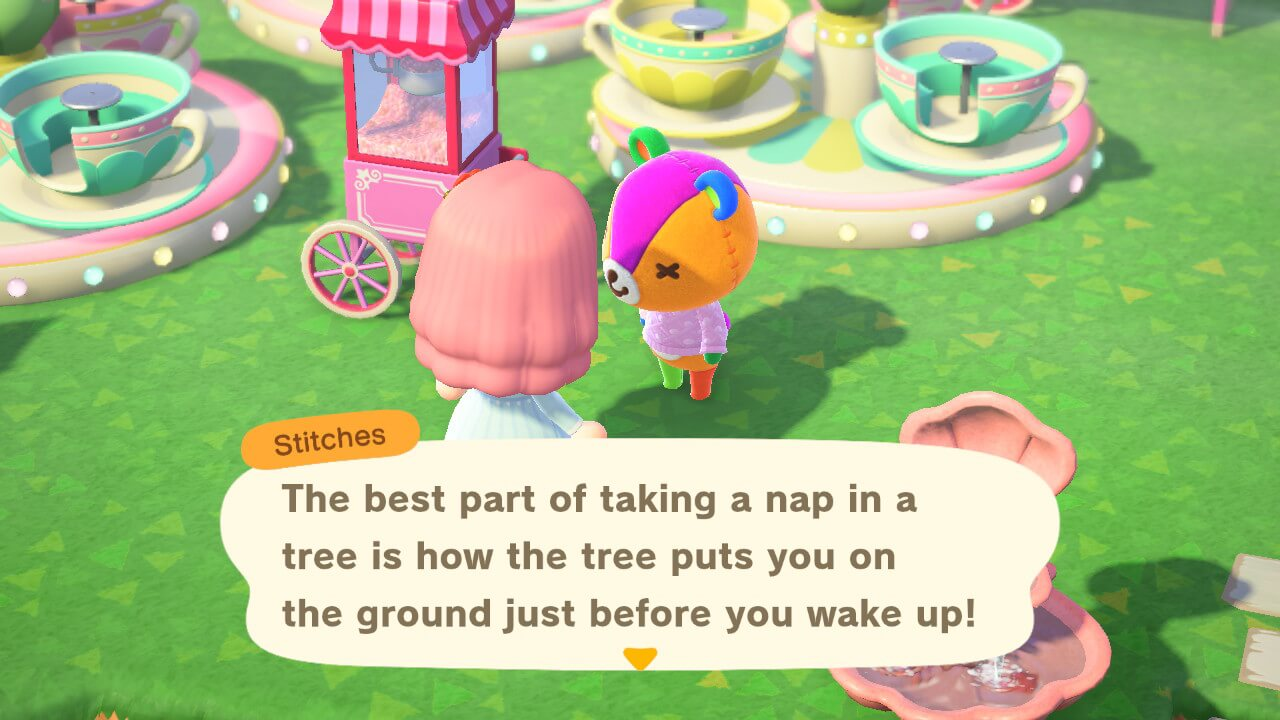 """Animal Crossing: New Horizons - Stitches - """"the best part of taking a nap in a tree is how the tree puts you on the ground just before you wake up!"""""""