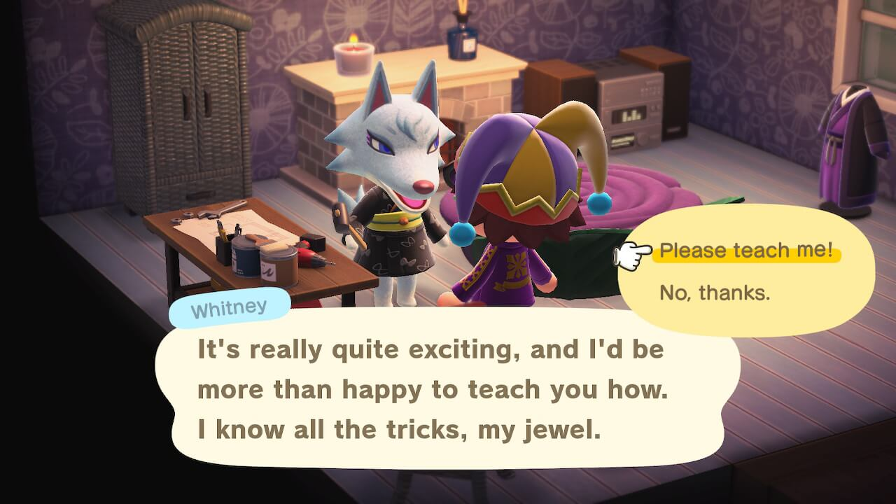 """Animal Crossing: New Horizons - Whitney """"It's really quite exciting, and I'd be more than happy to teach you how. I know all the tricks, my jewel."""""""
