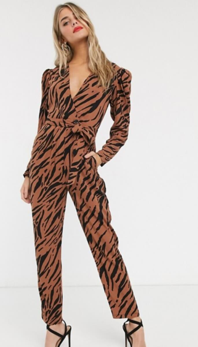 tiger print jumpsuit