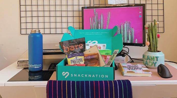 Instagram: SnackNation subscription desk on box