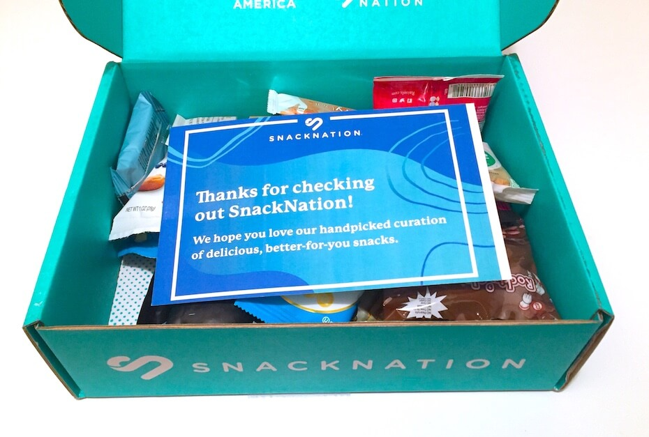 SnackNation open box with snacks