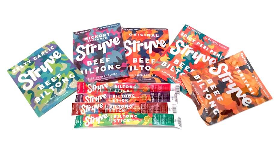 Stryve biltong product selection
