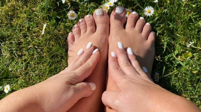 Matching Manicure and Pedicure on Grass
