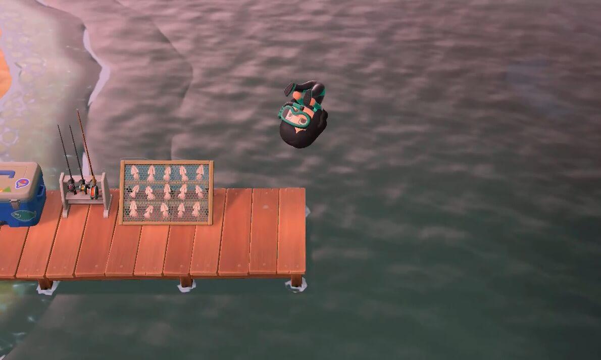 Animal Crossing: New Horizons - Diving off dock