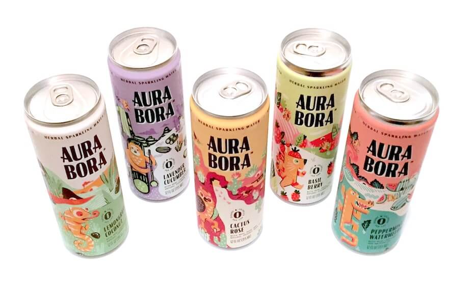Aura Bora sparkling water cans