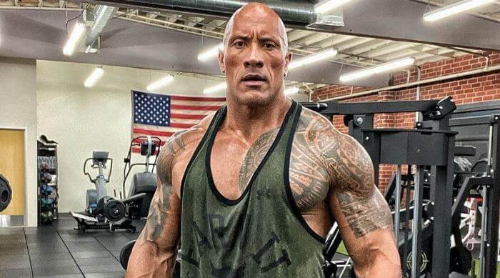 Instagram @therock Dwayne Johnson sweating at the gym